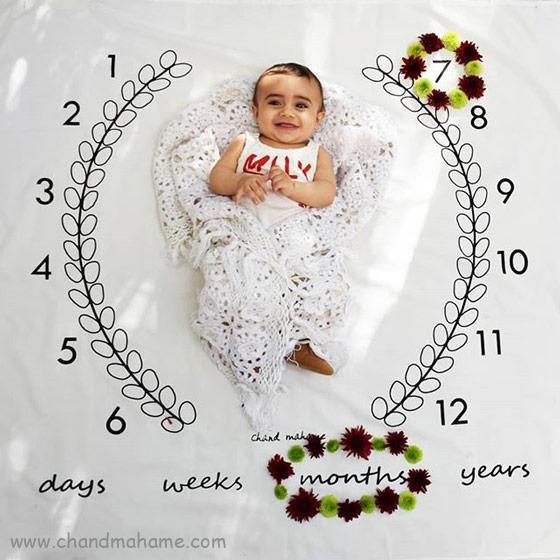 عکس ماهگرد نوزاد در خانه - هفت ماهگی