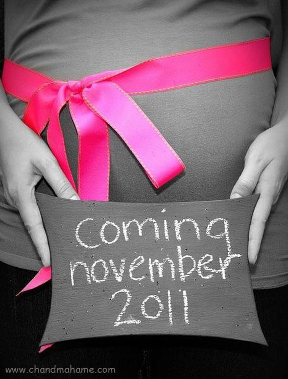ژست عکس بارداری با تخته سیاه - چندماهمه
