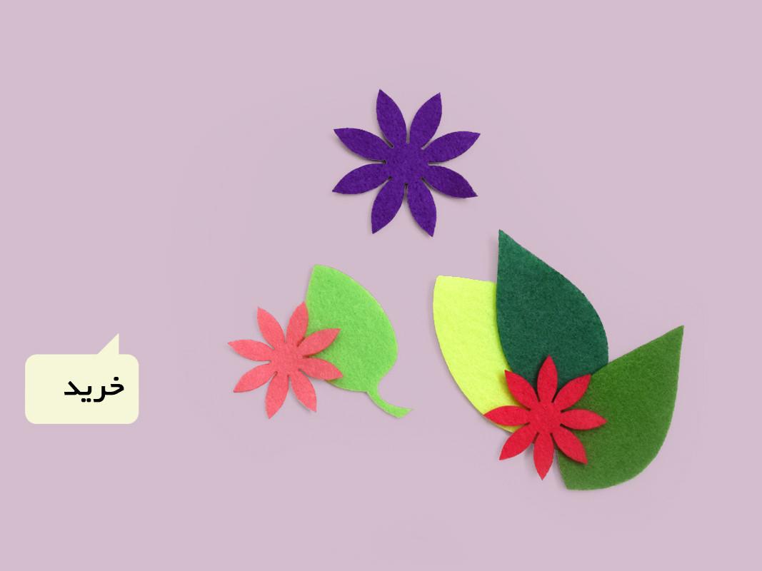 تم و تزیینات نمدی طرح گل و برگ برای ماهگرد نوزاد