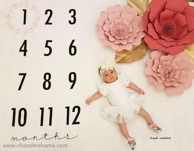 گل کاغذی برای تزیین تم ماهگرد نوزاد - چند ماهمه