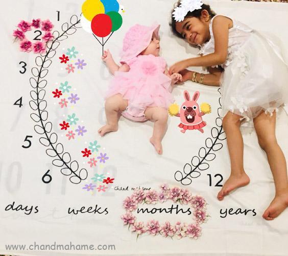 ژست عکاسی از نوزاد روی پارچه ماهگرد زیتون - چندماهمه