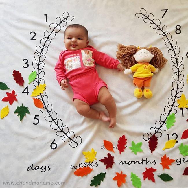 ایده عکس ماهگرد کودک با تم پاییز و شب یلدا - چندماهمه