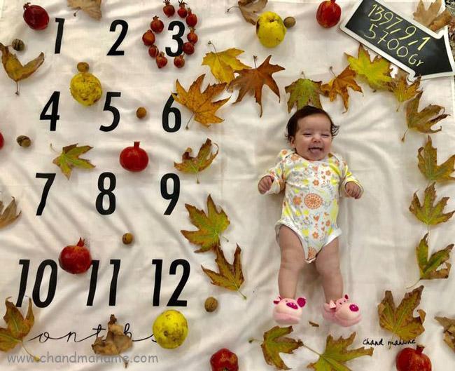 ایده عکس ماهگرد نوزاد با تم پاییز و شب یلدا - چندماهمه