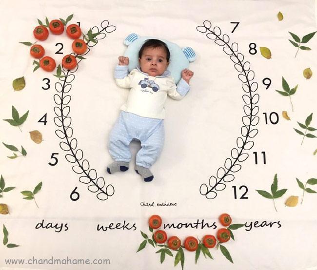 ایده عکس ماهگرد نوزاد با تم میوه ای و پاییز- چندماهمه