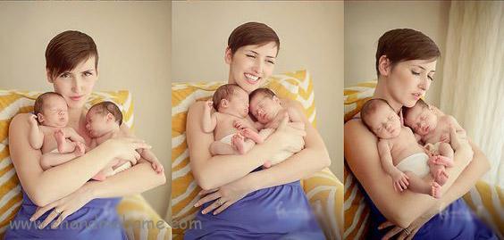 عکاسی از بچه های دوقلو در منزل با پدر و مادر - چندماهمه