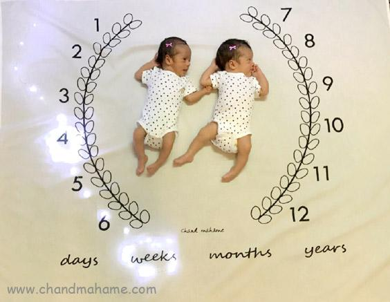 عکاسی ماهگرد از نوزادان دوقلو - چندماهمه