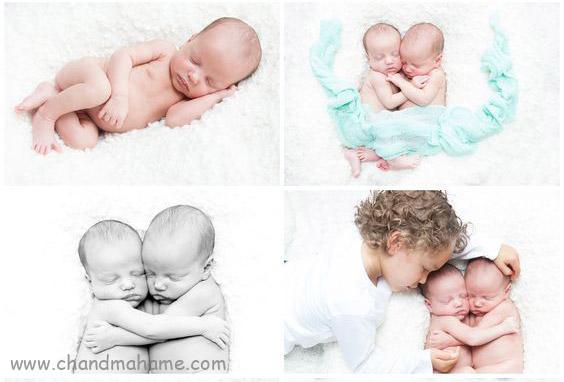 عکاسی از نوزادان دوقلو در منزل در حالت خواب - چندماهمه