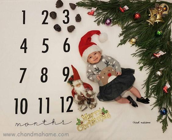 عکس تم ماهگرد نوزاد برای کریسمس - چندماهمه