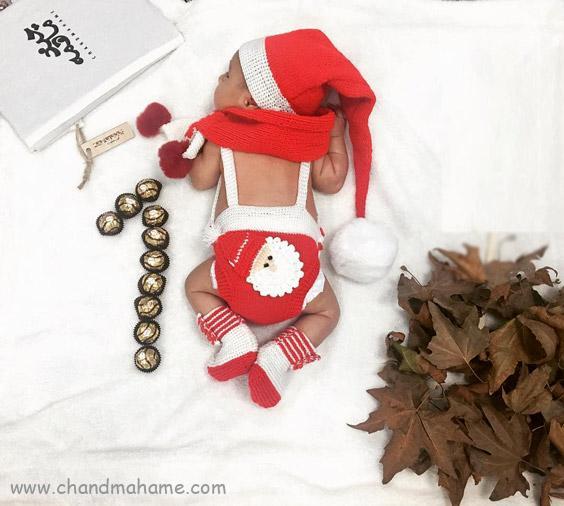 عکس تم ماهگرد نوزاد برای شب کریسمس - چندماهمه