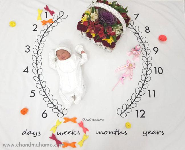 ایده عکس ماهگرد نوزاد با تزیین برگ و پاییز - چندماهمه