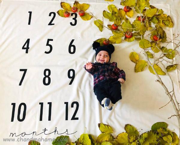 عکس ماهگرد نوزاد در خانه با تم های پاییزی - چندماهمه