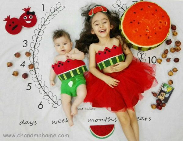 ایده عکاسی از نوزاد در خانه با تم یلدا