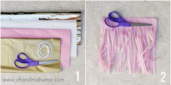 روش درست کردن ریسه کاغذی منگوبه ای برای تولد- چندماهمه
