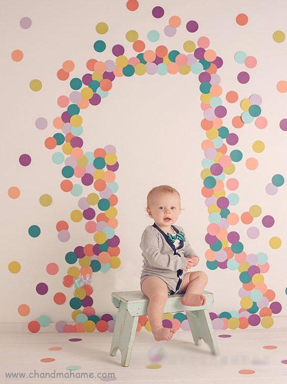 عکس تزیین تم تولد مدل رنگین کمان - چند ماهمه