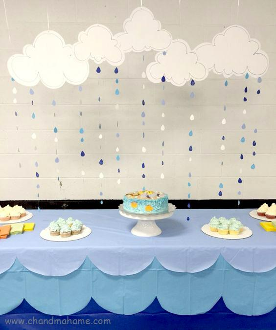 ایده تزیین تم تولد مدل ابر و باران - چند ماهمه