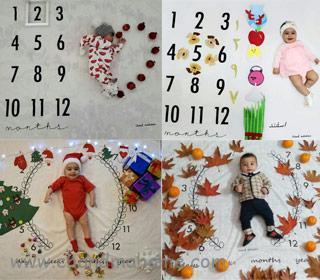 ابده عکس ماهگرد نوزاد در خانه با مناسبت های مختلف