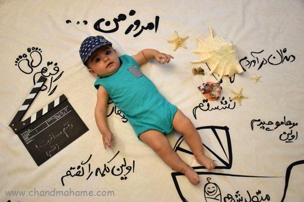 ایده عکس ماهگرد نوزاد در فصل تابستان - چندماهمه