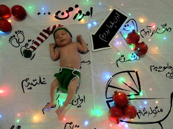 مدل عکس خانگی نوزاد با پارچه عکاسی برای کریسمس- چندماهمه