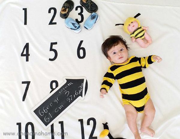 ایده عکس خانگی نوزاد مدل زنبوری - چندماهمه