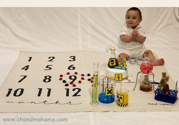 تزیین تم ماهگرد کودک در خانه با تم شیمیدان - چندماهمه