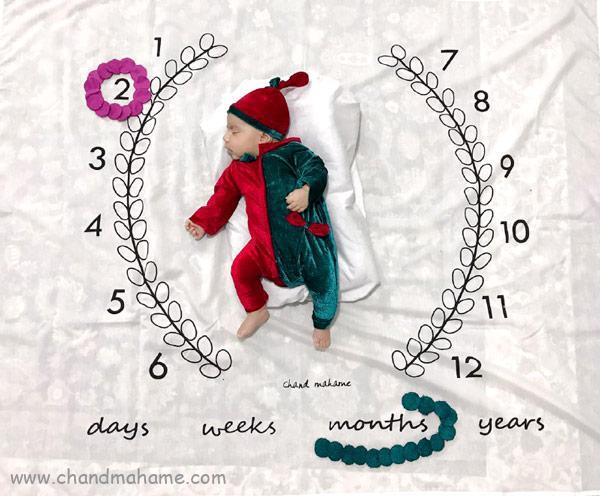 ایده عکس نوزاد با تزیینات خلاقانه - چندماهمه