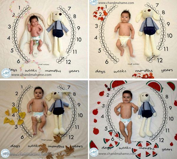 ایده عکس ماهگرد نوزاد با پارچه های عکاسی - چندماهمه