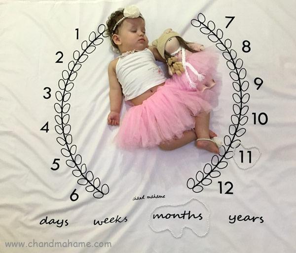 عکس ماهگرد نوزاد دختر در خانه - چندماهمه