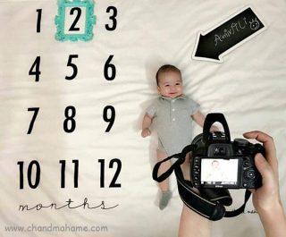 ایده عکس خانگی نوزاد با پارچه عکاسی - چندماهمه