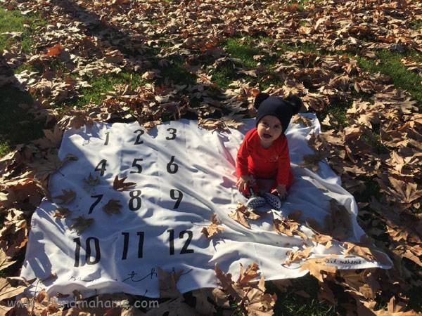 ایده عکس ماهگرد نوزاد در فصل پاییز
