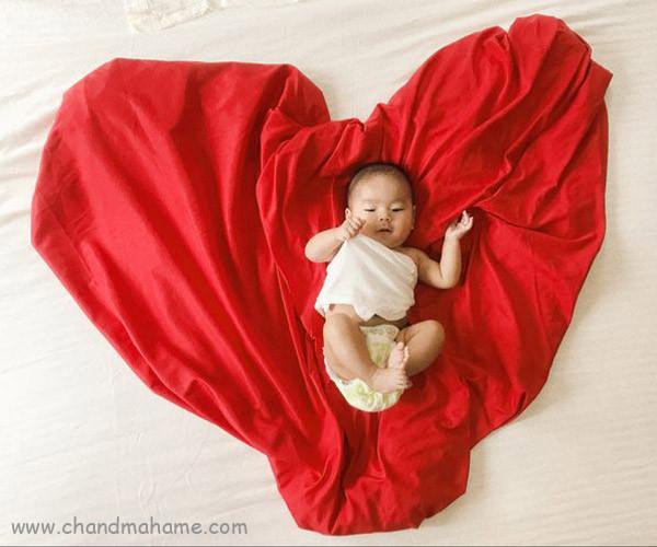 ایده تزیین تم ولنتاین نوزاد با پارچه - چندماهمه