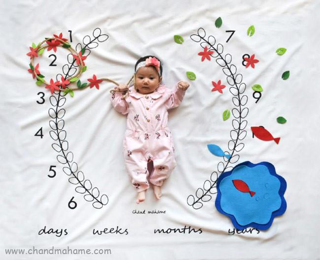 عکاسی از کودک در منزل با تم و تزیینات بهار و عید نوروز - چندماهمه