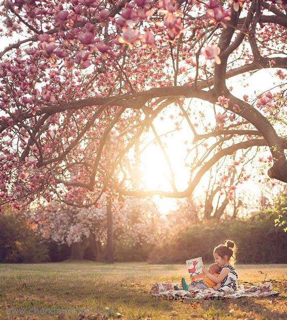ژست عکاسی تک نفره از کودکدر فضای باز و بهار - چندماهمه