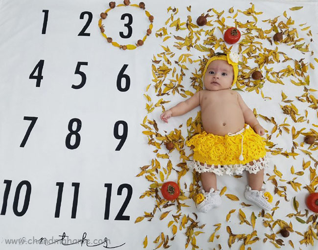 تم عکس نوزاد دختر در فصل های سال - چندماهمه
