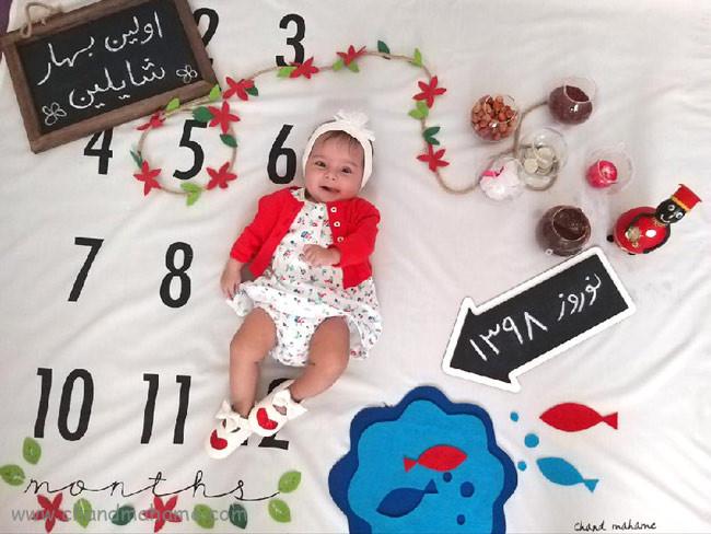 تم عکس نوزاد دختر در بهار و نوروز - چندماهمه