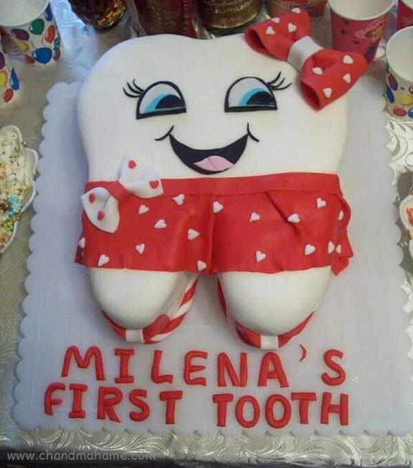 مدل کیک جشن دندونی دخترانه - چندماهمه