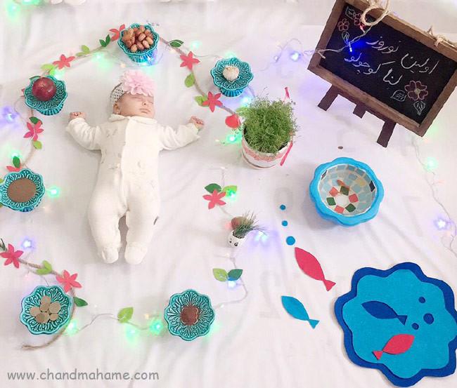 ایده عکس خانگی نوزاد در بهار و نوروز - چندماهمه
