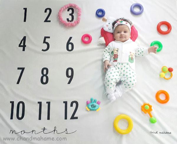 ایده عکس ماهانه نوزاد- عکس سه ماهگی کودک - جندماهمه
