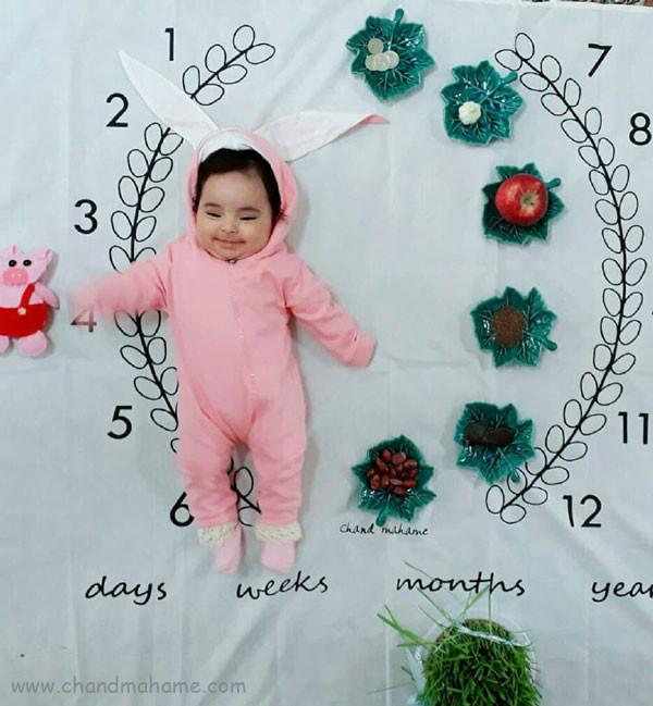 ایده عکس ماهانه نوزاد- عکس چهار ماهگی کودک - جندماهمه