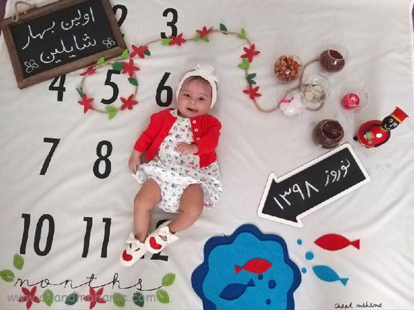 ایده عکس ماهانه نوزاد- عکس پنج ماهگی کودک - جندماهمه