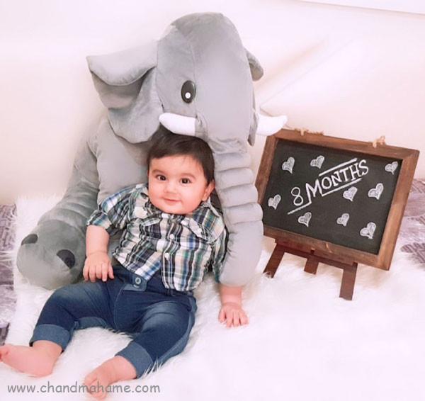 ایده عکس ماهانه نوزاد- عکس هشت ماهگی کودک - جندماهمه