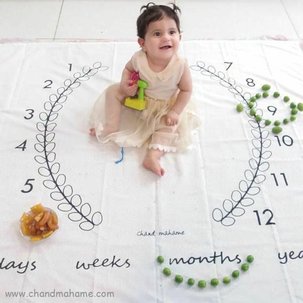 ایده عکس ماهانه نوزاد- عکس نه ماهگی کودک - جندماهمه