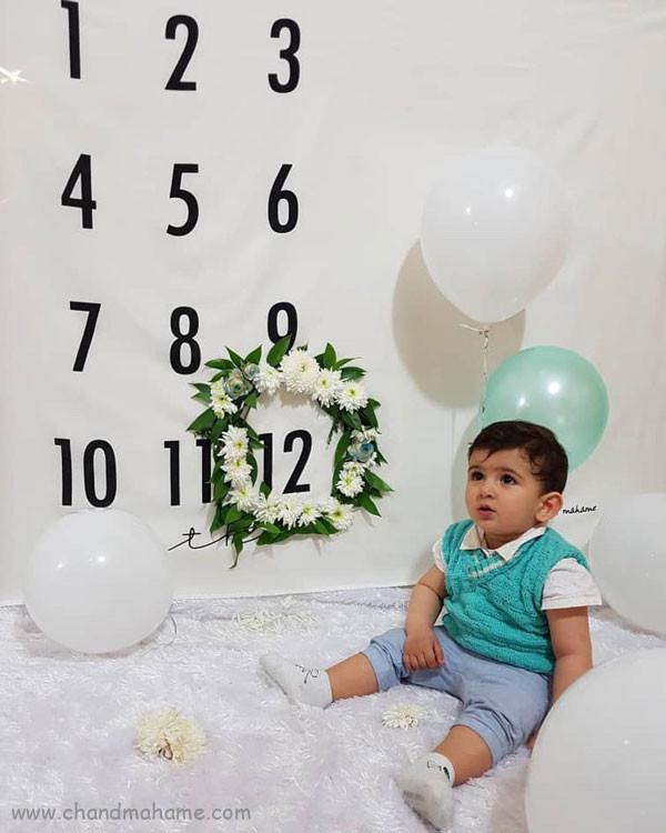ایده عکس ماهانه نوزاد- عکس دوازده ماهگی کودک - جندماهمه