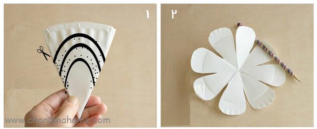 آموزش گل کاغذی بزرگ با بشقاب کاغذی برای تزیین جشن - جندماهمه