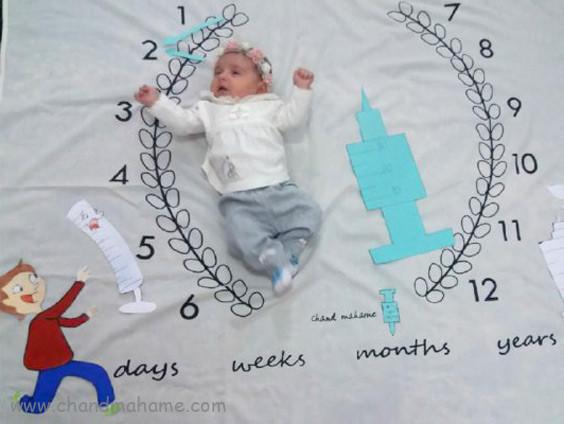 ایده تم عکس واکسن نوزاد - چندماهمه