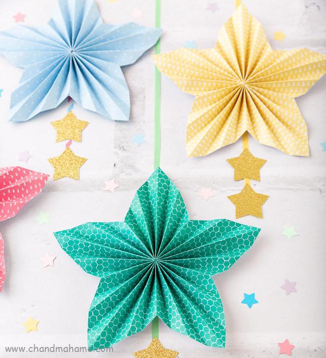 آموزش ساخت ستاره تزیینی با کاغذ کشی برای تزیین تولد و مهمانی - چندماهمه