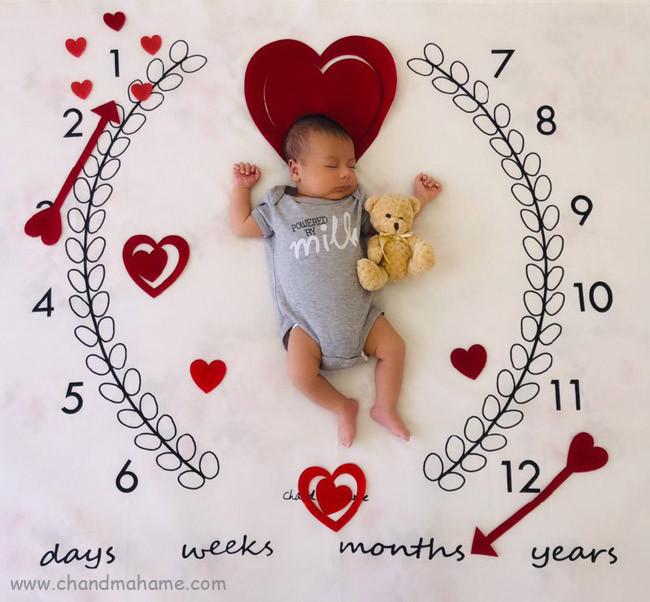 عکس ماهگرد یک ماهگی نوزاد در خانه - چندماهمه