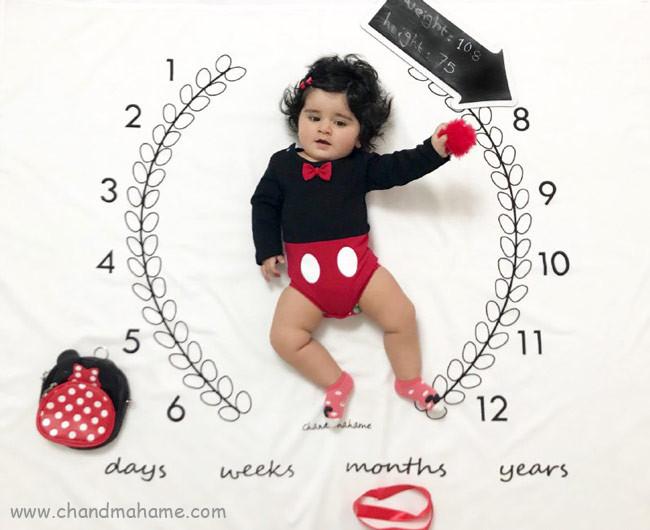 مدل عکس نوزاد هشت ماهه با پارچه ماهگرد - چندماهمه