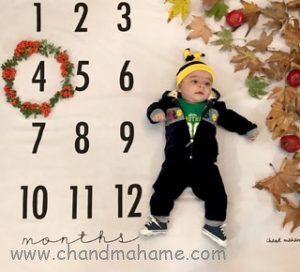 مدل عکس نوزاد چهارماهه با پارچه عکاسی نوزاد - چندماهمه