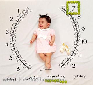 مدل عکس نوزاد هفت ماهه در خانه - چندماهمه