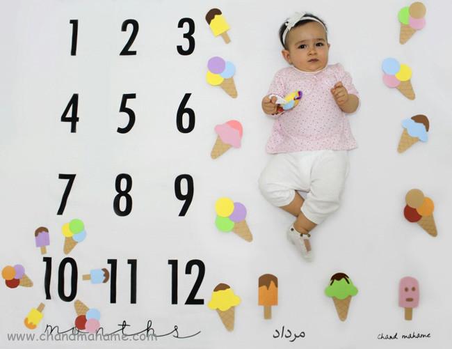 عکس نوزاد 10 ماهه با پارچه ماهگرد - چندماهمه
